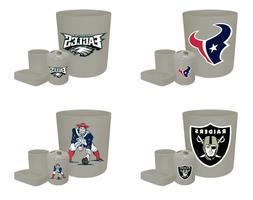 4 Pc Bathroom Set Gray NFL Logo Theme Trash Can Toothbrush H