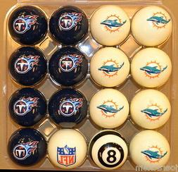 NFL Pool Ball Set - Miami Dolphins VS Tennessee Titans - FRE