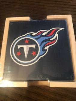 Tennessee Titans Ceramic Coasters Set Of 4 Inch Wooden Caddy