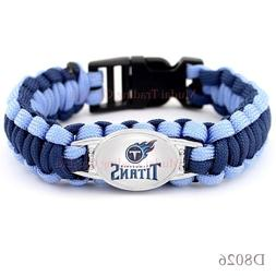 "Tennessee Titans Paracord Bracelet Football Fits 8-9"" NO DRO"